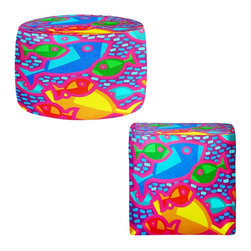 DiaNoche Designs - Ottoman Foot Stool by John Nolan - Funky Fish - Lightweight, artistic, bean bag style Ottomans.  Coming in 2 squares sizes and 1 round, you now have a unique place put rest your legs or tush after a long day!. Artist print on all sides. Dye Sublimation printing adheres the ink to the material for long life and durability. Printed top, khaki colored bottom, Machine Washable, Product may vary slightly from image.