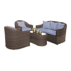 """Reef Rattan - Reef Rattan 4 Piece Conversation Set - Chocolate Rattan / Ocean Blue Cushions - Reef Rattan 4 Piece Conversation Set - Chocolate Rattan / Ocean Blue Cushions. This patio set is made from all-weather resin wicker and produced to fulfill your needs for high quality. The resin wicker in this patio set won't fade, shrink, lose its strength, or snap. UV resistant and water resistant, this patio set is durable and easy to maintain. A rust-free powder-coated aluminum frame provides strength to withstand years of use. Sunbrella fabrics on patio furniture lends you the sophistication of a five star hotel, right in your outdoor living space, featuring industry leading Sunbrella fabrics. Designed to reflect that ultra-chic look, and with superior resistance to the elements in a variety of climates, the series stands for comfort, class, and constancy. Recreating the poolside high end feel of an upmarket hotel for outdoor living in a residence or commercial space is easy with this patio furniture. After all, you want a set of patio furniture that's going to look great, and do so for the long-term. The canvas-like fabrics which are designed by Sunbrella utilize the latest synthetic fiber technology are engineered to resist stains and UV fading. This is patio furniture that is made to endure, along with the classic look they represent. When you're creating a comfortable and stylish outdoor room, you're looking for the best quality at a price that makes sense. Resin wicker looks like natural wicker but is made of synthetic polyethylene fiber. Resin wicker is durable & easy to maintain and resistant against the elements. UV Resistant Wicker. Welded aluminum frame is nearly in-destructible and rust free. Stain resistant sunbrella cushions are double-stitched for strength and are fully machine washable. Removable covers made with commercial grade zippers. Tables include tempered glass top. 5 year warranty on this product. Three Seater Sofa: W 63"""" D 31"""" H 31"""", Chair (2): """