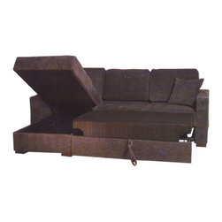 Beverly Hills Furniture Inc. - Incognito Sectional Sofa in Graphite, Left Chaise - Incognito Italian Leather Sectional makes your living room contemporary and stylish. This great sectional has polyester fiber basket weave fabric upholstery, kiln dried solid wood frame construction for durability, reinforced corner blocks for added strength.