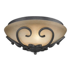 Golden Lighting - Golden Lighting 1821-FM Madera Flush Mount Ceiling Fixture with 3 Lights - Flush Mount Ceiling Fixture with Three Lights from the Madera CollectionWith its gorgeous solid wood accents creating a casual and rustic feel, this traditional style flush mount ceiling fixture features hand-painted Toscano glass bathing your room in a warm glow.Features: