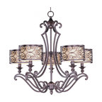 Joshua Marshal - Five Light Umber Bronze Drum Shade Chandelier - Five Light Umber Bronze Drum Shade Chandelier