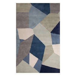 Jaipur Rugs - Hand-Tufted Geometric Pattern Wool Blue/Orange Area Rug ( 2x3 ) - En Casa is the design collection of Cuban born, Queens, NY raised painter and surface designer, Luli Sanchez. This collection is based off of her painterly works of art that capture an organic and moody yet optimistic spirit. Her hand drawn florals and geometrics were truly inspiring for this Hand Tufted collection.