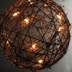 Grapevine Ball with String Lights - Hanging these grapevine ball lanterns from the trees or in a tent adds country charm and beautiful ambient light to any outdoor event.
