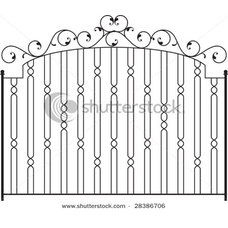 Iron fence design - wrought iron garden gate