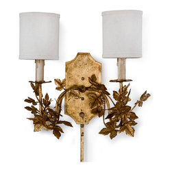 Kathy Kuo Home - Dressler Hollywood Regency 2 Light Gold Leaf Sconce - A leafy candelabra for a lamp? Bien sûr! This French inspired sconce employs gold leaf on the twining vines as well as a dripping candle effect, imparting a romantic feel to this exquisite piece. Hanging in your living room, this sconce will make you feel as if you are discussing fashion and literature in a French salon.