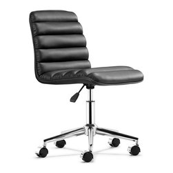 Zuo Modern - Admire Office Chair, Black - The Admire Office Chair has a sleek and comfortable shape wrapped in a soft padded leatherette with an adjustable lift and rolling base. With its retro look and modern construction, Admire Office Chair is perfect for any workspace.