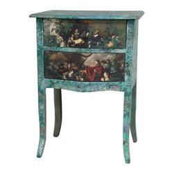 Oriental Furniture - Distressed Gathering Two Drawer Night Stand - Hand crafted European style night stand or end table, hand constructed from Philippine mahogany. Wide beveled top, curved block legs, and curved apron are finished in an artsy distressed pattern in shades of blues, teals, greens, whites, and some visible wood. Drawer faces feature highly detailed decoupaged classical paintings beneath a distressed dark teal overcoat. Wood knob drawer pulls and drawer interiors are finished in matte black. Use as a quirky end table, nightstand, or plant stand in the home or office.