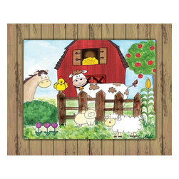 Oh How Cute Kids by Serena Bowman - Howdy Yaw with Wood Border, Ready To Hang Canvas Kid's Wall Decor, 24 X 30 - Every kid is unique and special in their own way so why shouldn't their wall decor be so as well! With our extensive selection of canvas wall art for kids, from princesses to spaceships and cowboys to travel girls, we'll help you find that perfect piece for your special one.  Or fill the entire room with our imaginative art, every canvas is part of a coordinating series, an easy way to provide a complete and unified look for any room.