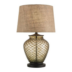 Currey & Company - Weekend Table Lamp by Currey & Company - Considering the rustic materials used to make it, the Currey and Company Weekend Table Lamp is a decidedly elegant fixture. It features a rounded Amber glass base covered in a Rust-colored wire mesh. The rich tone and texture of the mesh beautifully complements that of the flared burlap shade. Currey & Company creates history by acknowledging traditions from the past and by producing rare and enduring innovative products.