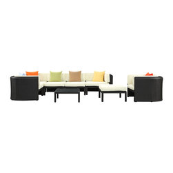 LexMod - Bonaire 9 Piece Outdoor Patio Sectional Set in Espresso Multicolor - Nestled within the Caribbean Sea rests an island of beauty and mystique. The Bonaire set was so named because of the inlet nature of the design. Participants in this outdoor sectional set are encouraged to tour the channels of conversation instead of the sea expanse. But rest assured, the reward is no less felt. Bonaire is comprised of woven UV resistant rattan and all-weather cushions. The aluminum frame is also powder-coated for added protection against the elements. If you find yourself unable to board the plane or sail away, consider inviting friends over and celebrating life locally.