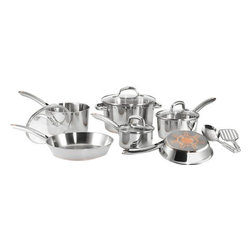 """T-Fal/Wearever - Ultimate Stainless Steel Copper Bottom 12Pc set - T-Fal Ultimate stainless steel copper Bottom 12 piece set - 8"""" fry pan 10.25"""" fry pan, 1qt covered sauce pan, 2qt covered sauce pan, 3qt covered sauce pan, 5qt covered dutch oven, 2 stainless steel tools (slotted spoon and slotted spatula)."""