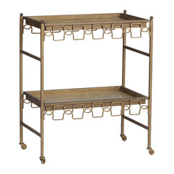 "Gabby - Gabby Lacy Bar Cart - The modern Gabby Lucy bar cart epitomizes striking function. Accenting a refined, contemporary frame, two removable horn trays receive metallic flair with geometric brass embellishments. 28""W x 16.5""D x 34""H Iron frame Polished white horn"