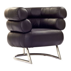 Tubular Armchair in Black - Refreshingly different, this gorgeous armchair hugs you in comfort. With its tubular-steel strength, plush cushions, and leather upholstery, you have a retro-inspired armchair that�s as unique as it is functional.