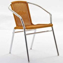 Modway - Chromed Rattan Cafe Chair - Eei-684-Nat - UV resistant