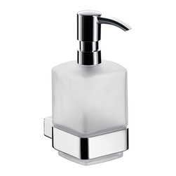 "WS Bath Collections - Loft 0521.001.01 Wall Mount Soap Dispenser - Loft 0521.001.01, 2.8"" x 4.4"" x 6.3"", Soap Dispenser in Satin Crystal Glass/Polished Chrome"