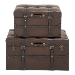 Classy Wood Polyurethane Leather Trunk, Set of 2 - Description: