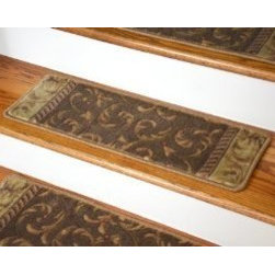 """Dean Flooring Company - Dean Premium Carpet Stair Treads - Khaki Scrollworks Size 26"""" x 9"""" - Dean Premium Carpet Stair Treads - Khaki Scrollworks Size 26"""" x 9"""" : Beautiful Plush Premium Carpet Stair Treads Khaki Scrollworks Luxurious and resilient texture High fashion design with beautiful scroll work Densely woven construction 100% Opulon (Polypropylene and Acrylic) Uncommon softness and durability Premium quality broadloom is woven Face-to-face on state-of-the-art wilton looms Stylish enough to compliment the finest decors Color: Khaki Stair Treads are approximately 26.25 inches by 9 inches Set Includes 13 Pieces Each tread is machine serged with color matching yarn Prevents slips on your hardwood stairs (treads must be securely attached to your stairs). Provides warmth and comfort. Extends the life of your hardwood stairs. Matching runners and area rugs available. Easy do-it-yourself installation with doubles sided carpet tape (Not included-sold separately)"""