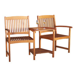 Great Deal Furniture - Virginia Outdoor Wood Adjoining Chairs - The Virginia Wood Chairs features two chairs joined together with an attached table. Enjoy a drink outside watching the sunset or read your favorite summer novel.