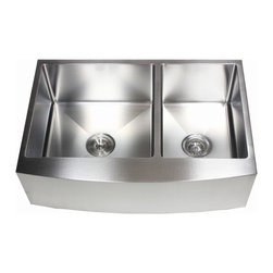"""Ariel - 33 Inch Curved Front Farm Apron 60/40 Double Bowl Kitchen Sink with - Give your kitchen a luxury makeover starting with our Ariel stainless steel kitchen apron sink. Features a rounded 15mm radius interior corner along with a clean smooth curved apron front. Overall Dimensions 33"""" x 21"""" x 10"""". Apron Depth 10""""."""