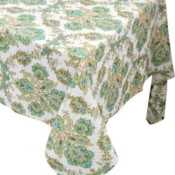 "Enchante Accessories Inc - Raymond Waites Rectangular Table Cloth - 60""x 84"" (Beige/Green Flowers) - Premium quality 100% cotton table linen with finished seamExpertly tailored with high quality cotton linenMachine wash in cold with like colors, colors do not bleedFloral patterns with elegant vintage stylePattern is available in matching placements, table runners, and napkins Set the mood for a lovely meal with this colorful floral print table cloth from Raymond Waites.  The Raymond Waites Premium Quality Table Cloth is made from high quality cotton linen fabric and features a sophisticated and elegant design with a timeless look that never goes out of style.  Expertly tailored with finished seams, this rich linen table cloth features pretty shades of green and brown in an ornate floral pattern against a beige background that gives it a vintage look and heirloom quality appeal.  Use this tablecloth in your dining room for an elegant dinner service or use it to cover a casual table on your patio or in your garden to create a truly special place to dine with family and friends.A beautiful table cloth can set the tone for an entire meal and this one allows you to start setting your table with a rich and beautiful look that adds charm and personality to your tabletop.  Versatile enough for an elegant breakfast, a festive brunch, or a refined dinner, this floral print table cloth is machine washable for easy cleanup and repeated use.  This lovely flower pattern is available in your choice of rectangular and round table cloths as well as table runners, placemats, and napkins for those who love the pattern but donメt want to completely cover their dining table.  For a truly vintage inspired look, create a centerpiece of antique vases filled with fresh flowers and decorate the tabletop with mismatched settings that highlight different colors and patterns among the plates, cups, and bowls.  For a more modern take on the classic table setup, pair this colorful tablecloth with white or solid colored place settings, crisp linen napkins, and combinations of tea lights and candles spread around the table.  Depending on how you top it, this table cloth works beautifully with different settings to create a classic, elegant setting, or a fresh, unexpected design."