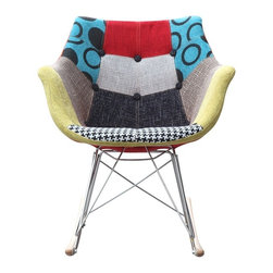 Lemoderno - Fine Mod Imports  Ginger Rocker Arm Chair - Add a splash of color to your home with this uniquely designed rocker arm chair. The Ginger Rocker Arm Chair is covered with high quality cotton fabric in a patchwork design. It  is a comfortable, stylish and supportive chair. Material: White ABS Frame Stainless Steel Legs Ash Wood Runners  Assembly Required