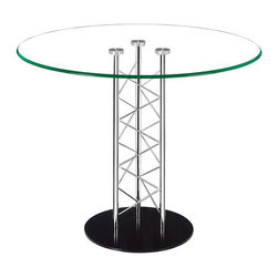 Chardonnay Dining Table - Like an architectural tower, the Chardonnay dining - Tempered Glass, Chromed Steel. W39 x D39 x H30