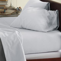 Garnet Hill - Garnet Hill Signature Cotton Flannel Sheets - California King - Fitted - Sterlin - This Signature Flannel bedding is crafted in Germany with a tighter weave than most flannels, making it weightier and more durable. It is gently brushed multiple times on each side until it meets our exacting standards for softness. Cases have an inner flap to conceal the pillow for a neater, more finished look. Our universal fitted sheet is elasticized all the way around for an easier fit. 12-inch pocket depth. Monogramming available.