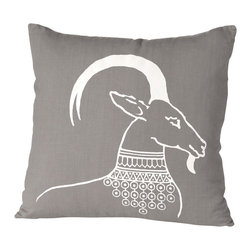 Cricket Radio - Alexandria Oryx Pillow, Stone/White - Are the blahs horning in on your decorating mojo? Break away from the herd with this unusual and luxurious pillow. A bejeweled oryx takes center stage, printed in ecofriendly inks on soft Italian linen in your choice of color combinations. It even has a removable down insert for easy cleaning.