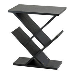 "Adesso - End Table - This Zig-Zag accent table is a sure delight of home furnishing with its majestic black wood grain veneer over MDF wood. Storage display areas are 8'' deep and may be used for CD's, DVD's, or knick knacks. Features: -MDF wood construction.-Black wood grain veneer finish.-Collection: Zig-Zag.-Base Finish: Black.-Distressed: No.-Powder Coated Finish: No.-Gloss Finish: No.-Base Material: Wood.-Top Material: Wood.-Solid Wood Construction: No.-Hardware Material: Stainless steel.-Nesting Tables: No.-Non-Toxic: No.-UV Resistant: No.-Scratch Resistant: No.-Stain Resistant: No.-Lift Top: No.-Storage Under Table Top: No.-Drop Leaf Top: No.-Magazine Rack: No.-Built In Clock: No.-Drawers Included: No.-Hardware Finish: Brushed steel.-Exterior Shelves: No.-Cabinets Included: No.-Glass Component: No.-Casters: No.-Lighted: No.-Stackable: No.-Reclaimed Wood: No.-Adjustable Height: No.-Outdoor Use: No.-Swatch Available: No.-Commercial Use: Yes.-Recycled Content: No.-Product Care: Wipe clean with a dry cloth.-Built In Outlets: No.-Powered: No.Specifications: -General Conformity Certificate: No.-Green Guard Certified: No.-UL Listed: No.Dimensions: -Overall Height - Top to Bottom: 21.25"".-Overall Width - Side to Side: 19"".-Overall Depth - Front to Back: 12"".-Drawer: No.-Cabinets: No.-Overall Product Weight: 12 lbs.-Legs: No.Assembly: -Assembly Required: Yes."