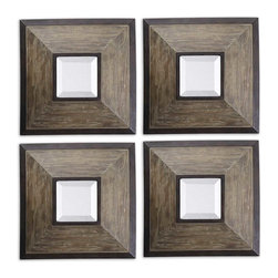 Uttermost - Uttermost Fendrel Squares Wood Mirror Set of 4 13817 - Distressed, wide wood frames finished in aged pecan accented with rustic dark bronze details. Mirrors are beveled.