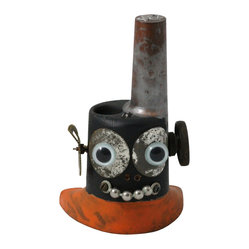 Kent Greenbaum - Kent Greenbaum Smokes Hu87 Robot Head Sculpture - One man's trash is Kent Greenbaum's art supplies. Why not add this member of the salvage sculptor's robot head series to your eclectic mix? It won't do your bidding but it's always good for a smile!