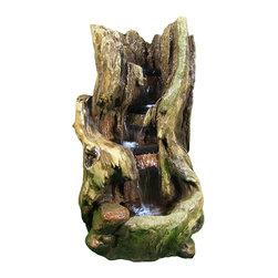 "Sunnydaze Decor - Rustic Outdoor Waterfall w/LED Lights by Sunnydaze Decor - * Dimensions: 19"" W x 32"" H x 16"" D; 28 lbs"