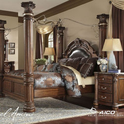 AICO Furniture - Monte Carlo II 7 Piece Queen Poster Bedroom Set in Cafe Noir - - Set includes Queen Bed, Dresser, Mirror and Nightstand