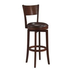 Hillsdale Archer 30 in. Swivel Bar Stool - Take a seat on the Hillsdale 30-Inch Archer Swivel Bar Stool and relax in comfort. The round swivel seat contoured back and ringed footrest ensure comfort even for long periods of sitting. Constructed from strong beautiful wood with a deep brown finish this swivel bar stool is a positively beautiful addition to a kitchen island table or home bar. The fully swiveling seat makes getting in and out easy and minimizes scuff marks on the floor. The round seat is padded and upholstered in brown faux leather which is soft durable and easy to clean. Please note: This item is not intended for commercial use. Warranty applies to residential use only. About Hillsdale FurnitureLocated in Louisville Ky. Hillsdale Furniture is a leader in top-quality affordable bedroom furniture. Since 1994 Hillsdale has combined the talents of nationally recognized designers and globally accredited factories to bring you furniture styling and design from around the globe. Hillsdale combines the best in finishes materials and designs to bring both beauty and value with every piece. The combination of top-quality metal wood stone and leather has given Hillsdale the reputation for leading-edge styling and concepts.