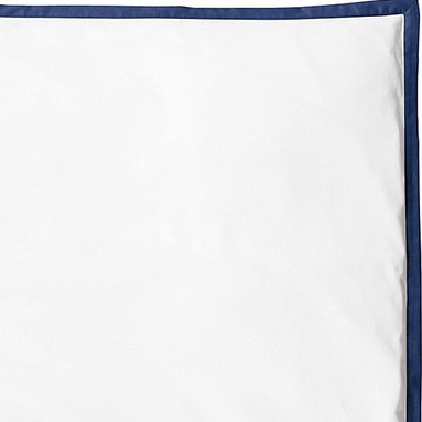 "Navy Border Frame Duvet - For those who crave a quieter bed, this beautiful layering piece allows you to start simple and add on as you desire. Dial it up with sheets in a bold color and pattern, or keep it clean and classic--whatever suits your style. Crisp white 300-thread-count 100% cotton sateen with fabric-covered button closures and 1"" flange in Navy.300-thread-count 100% cotton. Machine wash. Imported. Twin (68 x 86""), Full/Queen (86"" SQ), King/Cal King (106 x 94""). Insert sold separately. (Item # BDU04) NOTE: This item is final sale and cannot be exchanged or returned."