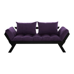 Fresh Futon - Fresh Futon Bebop Convertible Futon Sofa/Bed, Black Frame, Purple Mattress - Bebop will have you feeling energized after a rest, like a fast tempo melody on the dance floor. Sit back and relax in one of three positions, loveseat sofa, mattress, and daybed. Available in natural and black frames with 9 twill fabric color options.