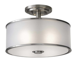 Murray Feiss - Murray Feiss Casual Luxury Semi-Flush Mount Ceiling Fixture in Brushed Steel - Shown in picture: Casual Luxury Semi Flush in Brushed Steel finish with Silver Organza�Fabric