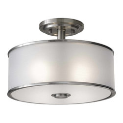 Murray Feiss - Murray Feiss Casual Luxury Semi-Flush Mount Ceiling Fixture in Brushed Steel - Shown in picture: Casual Luxury Semi Flush in Brushed Steel finish with Silver Organza'Fabric