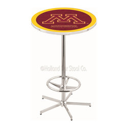 Holland Bar Stool - Holland Bar Stool L216 - 42 Inch Chrome Minnesota Pub Table - L216 - 42 Inch Chrome Minnesota Pub Table  belongs to College Collection by Holland Bar Stool Made for the ultimate sports fan, impress your buddies with this knockout from Holland Bar Stool. This L216 Minnesota table with retro inspried base provides a quality piece to for your Man Cave. You can't find a higher quality logo table on the market. The plating grade steel used to build the frame ensures it will withstand the abuse of the rowdiest of friends for years to come. The structure is triple chrome plated to ensure a rich, sleek, long lasting finish. If you're finishing your bar or game room, do it right with a table from Holland Bar Stool.  Pub Table (1)
