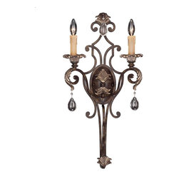 Savoy House - Chinquapin 2-Light Sconce - This noteworthy wall sconce is rich with ornamentation. It features leaves at the top and bottom, as well as in the center, which provide you with a stately crest. Clear droplets add a touch of stylish sparkle.