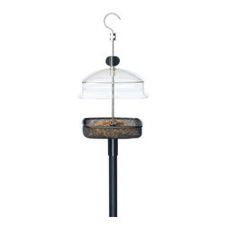 Rainbow Gardman - Adjustable Small Bird Feeder - Adjustable small bird feeder can be used for mealworms or many other feeds. Moveable, clear dome, clear dome allows you to regulate the size of birds that can use the feeder. Tough clear polycarbonate dome and Stainless Steel swivel hook.