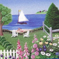 York Wallcoverings - White Cottage On Sandy Beach Wallpaper Border - Wallpaper borders bring color, character and detail to a room with exciting new look for your walls - easier and quicker then ever.