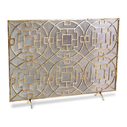 Kathy Kuo Home - Pyra Modern Transitional Gold Leaf Medallion Fireplace Screen - Beautifully constructed from hand wrought iron, this medallion fireplace screen is contemporary, stylish, marrying form and function at its best