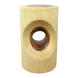 Kammika - Peephole Sustainable Wood 12 inch Dia x 20 inch H w Eco Friendly Livos Clear Oil - Our Sustainable Monkey Pod Wood Peephole 12 inch Diameter x 20 inch height with Eco Friendly Natural, Food-safe Livos Clear Oil Finish End Table presents a large oval curve carved into both sides of the round surface with a round through hole to create a peephole effect. This piece can serve as an end table, display stand, or stool; they can also serve as a serving table or bench when put together. Each is hand carved; no two are alike. Carved from a single piece of Monkey Pod wood and finished with Livos Clear Oil, each piece is more than a piece of furniture - it is a Work of Eco Friendly Functional Art! Craftspeople from the Chiang Mai area in Northern Thailand create these pieces with the simplest of tools. After each Monkey Pod Wood (Acacia, Koa, Rain Tree grown for wood carving) piece is kiln dried, carved and sanded, it is hand rubbed in Livos Clear oil that is polished to a matte finish. These natural oils are translucent, so the wood grain detail is highlighted. There is no oily feel; and cannot bleed into carpets, as it contains natural lacs. This eco friendly piece is made from the branches of the Acacia tree in Thailand - where each branch is cut and carved to order (allowing the tree to continue growing). We make minimal use of electric hand sanders in the finishing process. All products are dried in solar or propane kilns. No chemicals are used in the process, ever. We use only eco friendly, natural, water resistant, and food-safe finishing oils. This item is packaged with cartons from recycled cardboard with no plastic or other fillers. The color and grain of your piece of Nature will be unique, and may include small checks or cracks that occur when the wood is dried. Sizes are approximate. Products could have visible marks from tools used, patches from small repairs, knot holes, natural inclusions or holes. There may be various separations or cracks on your p