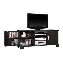 Walker Edison - Walker Edison 60 in. Jamestown Wood TV Console X-LB37C06W - Elegance and function combine to give this 60 inch wood TV stand a striking appearance. This design creates a stylish look crafted from high-grade MDF and durable laminate that accommodates most flat-panel TVs up to 65 in. Three levels of center, adjustable shelving provide ample storage space for A/V components. Features two side cabinets that swing open revealing additional shelving that will hold approximately 215 DVDs, Blu-ray discs, CD's or other media.Features:&#8226: Stylish, traditional design&#8226: Rich, textured finish&#8226: High-grade MDF and laminate construction&#8226: Solid and sturdy design supports 250 lbs.&#8226: Accommodates most flat-panel TVs up to 65 in.&#8226: Ample storage space for A/V components&#8226: Holds approximately 215 DVDs/Blu-ray discs&#8226: Adjustable center shelving for convenience&#8226: Ships ready-to-assemble with necessary hardware and tools&#8226: Assembly instructions included with toll-free number and online support