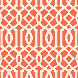 Imperial Trellis II Wallpaper, Ivory/Mandarin - The trellis pattern continues to be on trend. This bold print would look amazing in a bedroom as an accent.