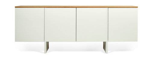 Temahome - Edge Sideboard, Pure White / Oak - The Edge sideboard has a white body with the option of either a walnut or oak finishes for the top,.   in this sideboard functionality and design come together as one in a piece with plenty of storage inside, and great lines on the outside. Edge is one of those pieces no space should do without.