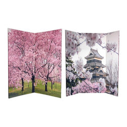 Oriental Furniture - 6 ft. Tall Double Sided Cherry Blossoms Room Divider - Bring home the splendor of the Japan's cherry blossom with this awe-inspiring screen. On the front is a photo of Matsumoto Castle, skillfully framed by exquisite  Sakura  in bloom. The back features a cherry tree grove, wherein stunning pink blossoms remind us why these glorious trees are symbolic of love, affection, and good fortune. The spectacular floral imagery of this versatile room divider provides you with lovely interior design elements for your living room, bedroom, dining room, or kitchen. This three panel screen has different images on each side, as shown.