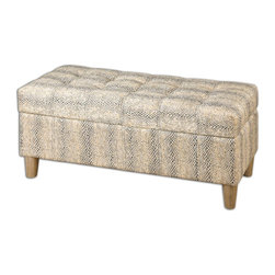 Uttermost - Uttermost Brandis Reptile Storage Bench 23178 - With subtle reptile texture and color, this hardwood framed bench provides comfortable seating and extra storage with a double stitched, tufted cushion top.