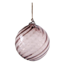 Working Man Hand Made - Smokey Purple Holiday Ornament In Ball Shape With Twisted Optics - All of our holiday ornaments are made using traditional Italian glass blowing techniques accentuated by bright and festive colors. Our line of transparent ornaments will brighten your holiday season!